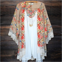 Fashion Women Swimwear Cardigan Kaftan Floral Lace Kimono Cover Up Beach Dress = 5709620865