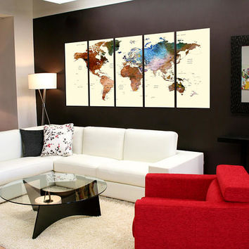 extra large wall art world map push pin canvas print,extra large world map for travel wall art, colorful watercolor wall decor No:10s11