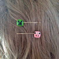 pair of cute Minecraft bobby pins