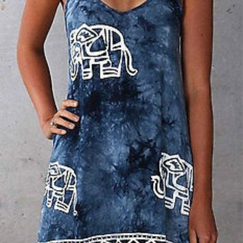 Sexy Backless new Women Denim Dress Vintage Bodycon print elephant Summer Beach Sleeveless Party Mini Dresses Casual Blue