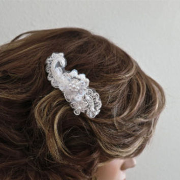 Lace Bridal Hair Comb, Pearl Hair Decoration for Weddings Prom | LaLaMooD