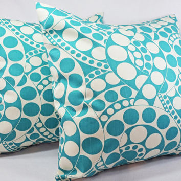 Two Teal Throw Pillow Covers - 16 x 16 inch Decorative Pillow - Pillow Cover - Teal Blue Decorative Pillow - Pillows