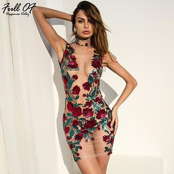 Sexy Women Mesh Embroidery Summer Sequins Dress 2019 New Off Shoulder Perspective Floral Luxury Nightclub Party Dresses vestidos