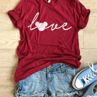 Mickey Mouse Love. Unisex Fit. Disney Inspired Shirt. T Shirt. Women's Clothing. Light Weight T shirt. Cool T Shirt. Fun Disney Trip Shirt.