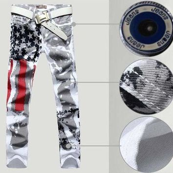 DCCKON3 Mens usa flag white jeans painting color printing stripe cotton stretch straight denim overalls men plus size 44 46