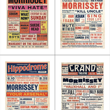 SPECIAL OFFER: Morrissey All 4 Theatre Playbill Poster Prints For The Price Of 3, Music Hall Tour Prints, FREE Shipping