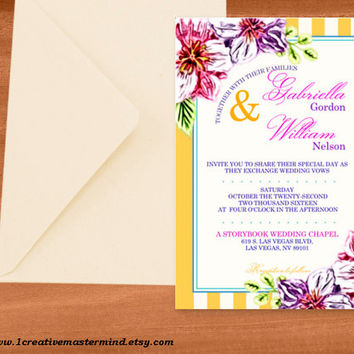 DIY Wedding Invitation Template, Instant Download, DIY, Editable PDF, Printable, Digital, Floral with Yellow and White Stripes #1CM80-3