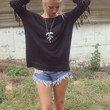 San Andres Knit Black Scoop Neck Sweater Top With Fringe Sleeves