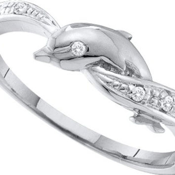 10KT White Gold 0.04CTW  DIAMOND  DOLPHIN RING: Rings
