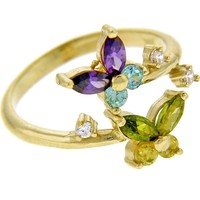 10kt GOLD Cubic Zirconia BUTTERFLY Toe Ring