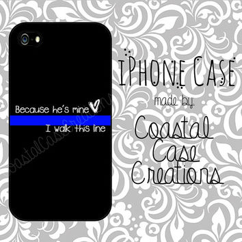 Thin Blue Line Heart Quote Apple iPhone 4 and 5 Hard Plastic or Rubber Phone Case Cover Original Design