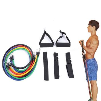 11 Pieces/Set Resistance Bands Expander Pull Rope Fitness Gym Rubber Crossfit Latex Tubes Pedal Excerciser Body Training Workout