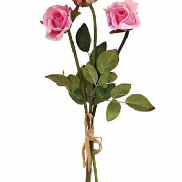 """Mini Real Touch Sweetheart Rose Bundle in Pink - 14"""" Tall"""