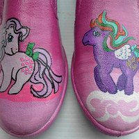 Ready to mail today Retro Snuzzle and Tickle My Little Pony Custom Painted Shoes standard slip ons Womens size 8