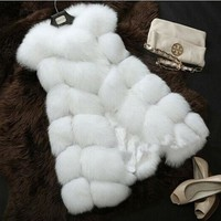 Fur vest medium-long fox fur mink fur coat 2017 autumn and winter slim patchwork vest waistcoat female