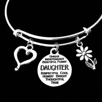 Daughter Jewelry Gift Adjustable Bracelet Expandable Charm Bangle Trendy One Size Fits All Gift Open Heart Daisy