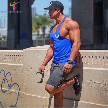 2017 Newest Brand powerhouse musculation Bodybuilding Fitness Men Cotton T Shirt Vest Men' Tank Tops Plus Size M-XXL
