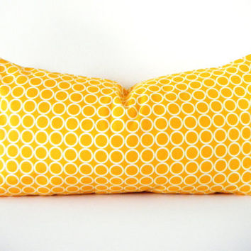 Mustard Yellow Long Bolster Pillow, Bohemian Decorative Pillows, Modern Yellow Sofa Cushions 12x22 Inch