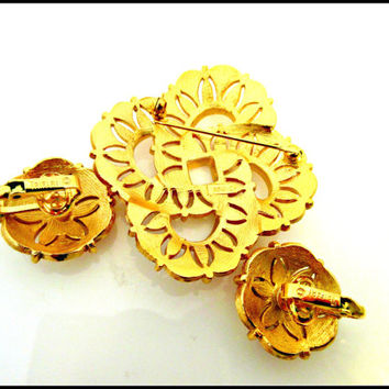 Crown Trifari  Brooch and Earrings Brushed Gold Mid Century