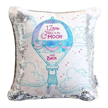 """I Love You to the Moon & Back"" Hot Air Balloon Mermaid Pillow with Iridescent & Silver Reversible Flip Sequins"