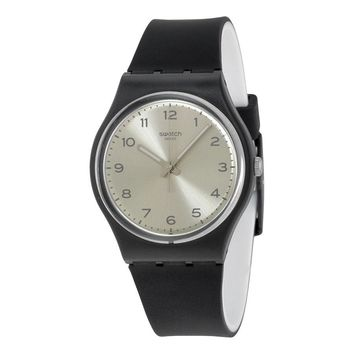 Swatch Originals Silver Friend Too Silver Dial Black Rubber Ladies Watch GB287