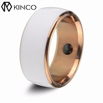 KINCO 12/11/10/9/8/7 White Program Lock Magic Business Card Link Share Screen Unlock Waterproof Smart Ring for Smart Phone