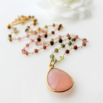 Tourmaline Gemstone Necklace, Watermelon Pink Quartz Pendant, Rosary Style, Gold Vermeil, Multi color Tourmaline