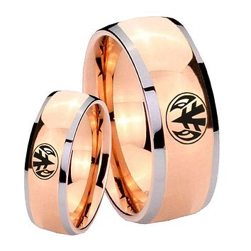 His Hers Rose Gold Dome Love Power Rangers Two Tone Tungsten Wedding Rings Set