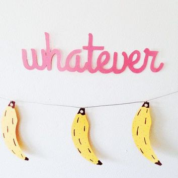 "Pink Paper Word Garland / ""whatever"" Paper Banner / Wall Hanging"
