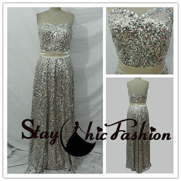 Gold Sparkly Full Sequined Strapless Evening Dress with Chiffon Waistband