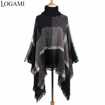 LOGAMI Autumn Winter Poncho Knitting Turtleneck Plaid Women Poncho Long Ponchos And Capes Elegant Sweater Pullovers Pull Femme