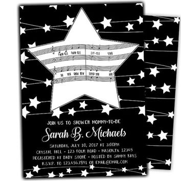 Boy Star Baby Shower Invitation  - Twinkle Twinkle Invitations - Little Star Baby Shower Invite - Black and White - Black and Blue - Printed