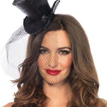 DCCKLP2 Mini Top Hat With Veil in BLACK