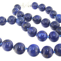 "18"" extend to 20""  Round Blue Lapis 12mm Gemstone Beads Necklace Knotted"