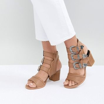Sol Sana Clementine Tan Triple Buckle Heeled Sandals at asos.com