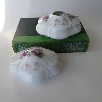 Antique Vanity Set, Porcelain Hair Receiver & Trinket Box with Pretty Purple Violets