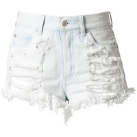 White High Waisted Denim Shorts - Destroyed