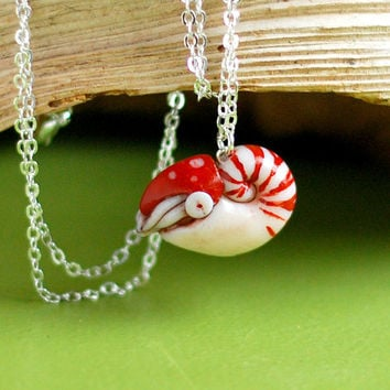 Nautilus Necklace, marine biology ocean animal pendant
