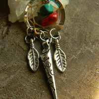 Tribal Dream Catcher Charm with Turquoise and Red Coral Chips
