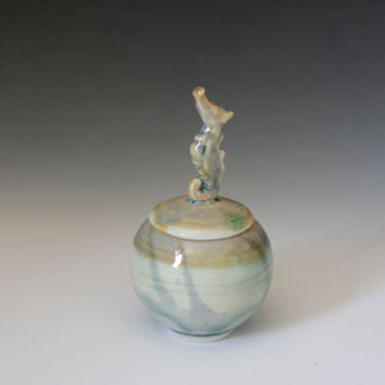 Seahorse porcelain trinket pot, green seahorse on a lidded jar, Decorative Home Decor