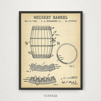 Whiskey Barrel Poster, Whiskey Patent, Digital Download, Bar Decor, Whiskey Art Print, Liquor Spirits Drinks Wall Art, Whiskey Brewery