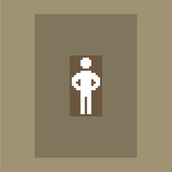 So that's what you do when I'm not around! Modern cross stitch pattern of a figure with hands on hips. Contemporary cross stitch design.