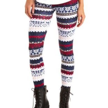 Cotton Geo-Tribal Printed Leggings by Charlotte Russe - Navy Combo