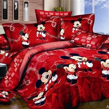 100% Cotton bed linen 3d mickey mouse bedding sets minnie kids duvet cover set king/queen/twin 3PCS bedspread Red happy bedding