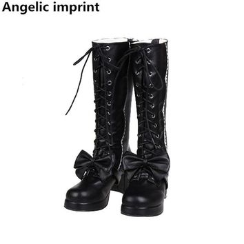 Angelic imprint mori girl Women boots lady lolita high thick heels warm Boots woman princess dress pumps shoes big bowtie 33-47