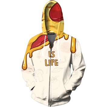 Pizza is Life Zip Up Hoodie