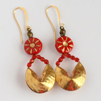 Fortune Cookie Earrings, Chinese New Year Jewelry, Red and Gold Earrings, Asian Jewelry, Good Luck Symbol, Cute Gift, Proposal Idea, SRAJD
