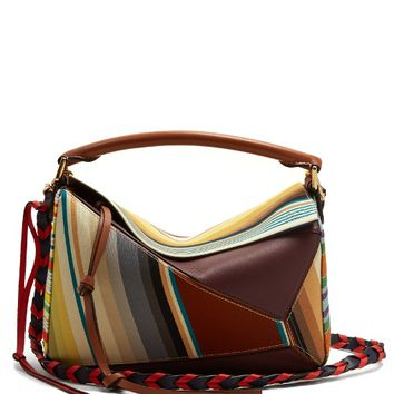 Puzzle contrast-panel striped canvas bag | Loewe | MATCHESFASHION.COM US