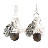 Hamsa Earrings with Wire Wrapped Smoky Quartz and Freshwater Pearl, yoga jewelry, yoga earrings, namaste jewelry