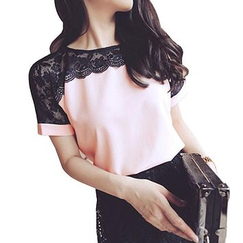 Chantilly Lace Chiffon Top